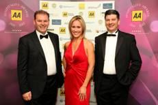 Sophie Raworth with AA Chefs' Chef winners Chris and Jeff Galvin