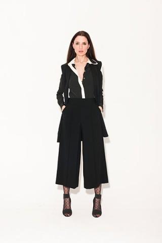 black jacket black culottes white shirt