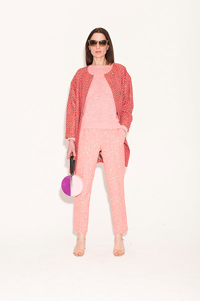 pink trousers tweed coat pink white bag