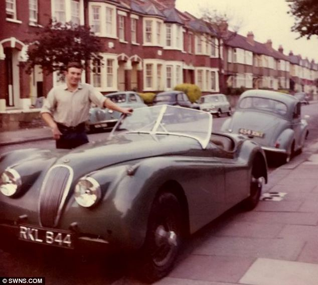 Douglas Potter with the XK120 Jaguar in 50's