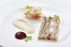 Rabbit Terrine served at Lainston House Hotel The Avenue Restaurant