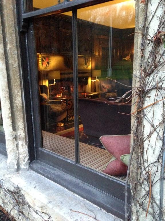 Fireplace through window