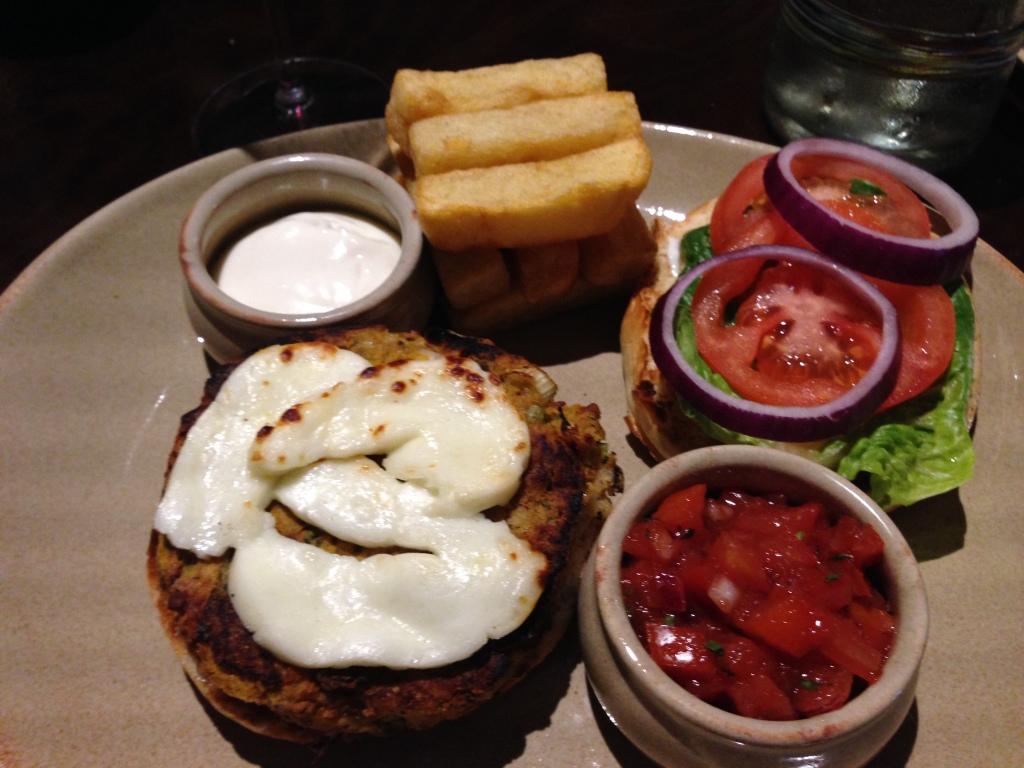 Veggy Burger with haloumi cheese and tomato salsa