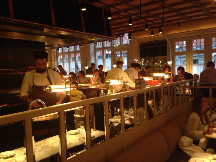 Open kitchen at Chiltern Firehouse