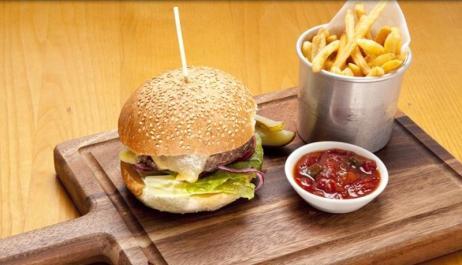 Burger at Sam's Brasserie