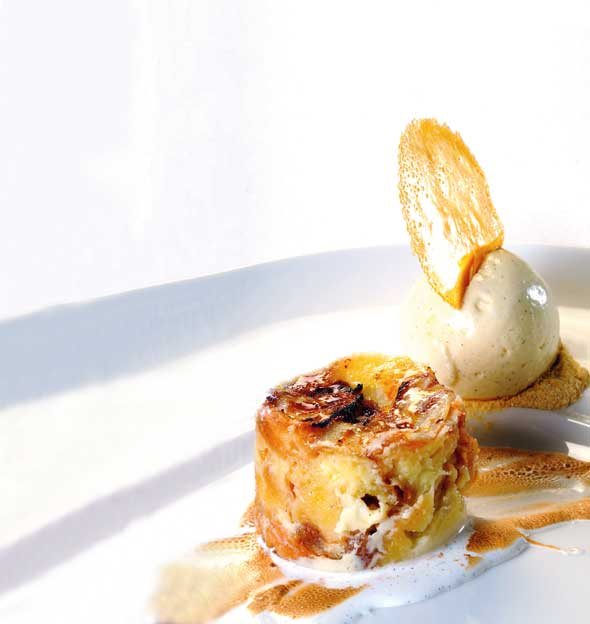 White Chocolate and Whisky Croissant Bread and Butter Pudding