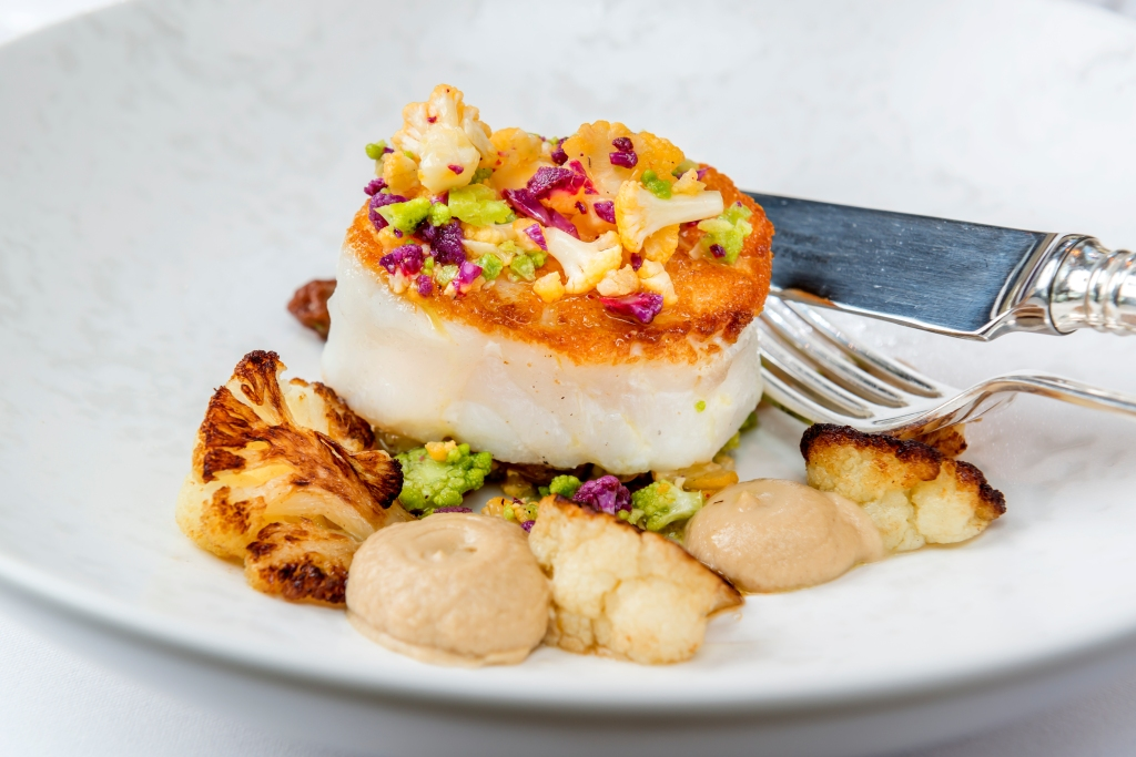 Photo by Guy Harrop. Cod with coconut cream at The Vineyard in Newbury image copyright guy harrop info@guyharrop.com 07866 464282