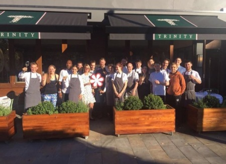 The Team at Trinity proudly celebrating their Michelin Star triumph