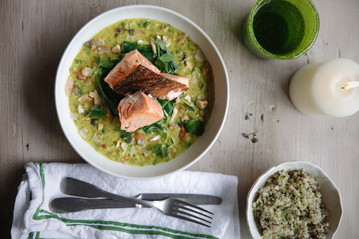 Chefs Recipe: Salmon Curry with Yoghurt and Spiced Cauliflower Rice - Daylesford Organic Farm Gloucestershire