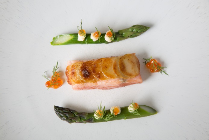 Warm cured salmon in a potato crust