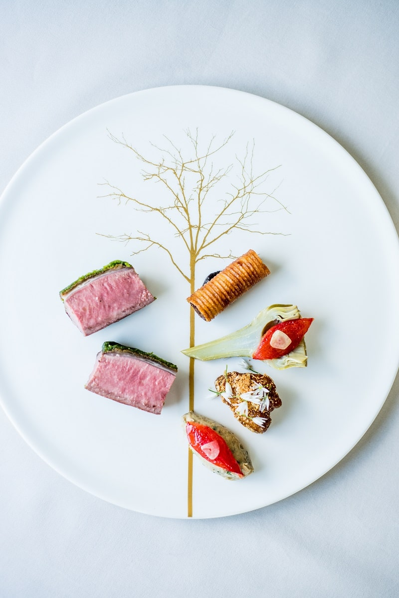 Restaurant Coworth Park-Adam Smith-Spring lamb sweetbreads artichoke aubergine-aerial-highres-min